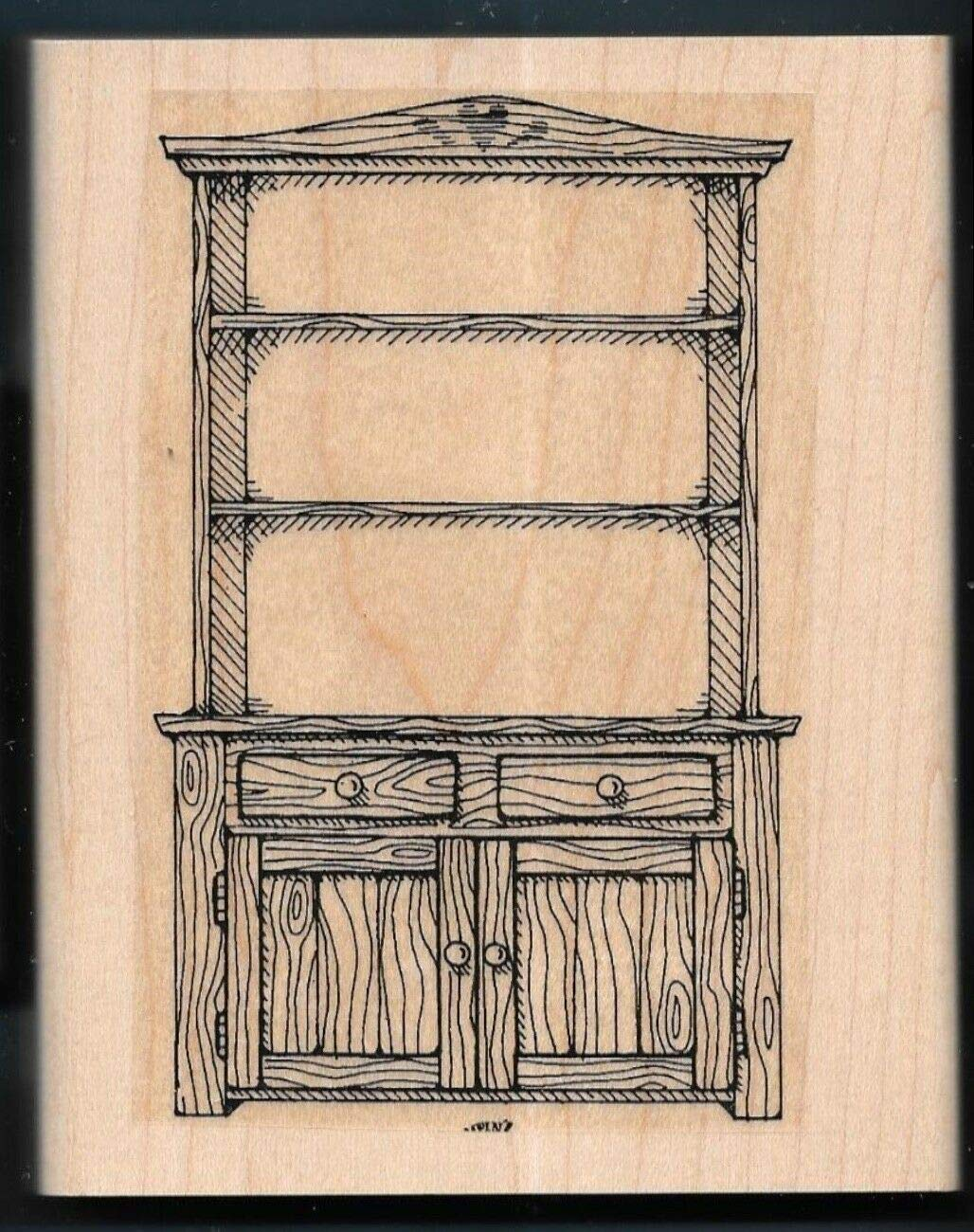 Rubber Stamp Frames Country Cupboard Hutch Dry Sink Cabinet Wood Love Bakes Rubber Stamp by OutletBestSelling
