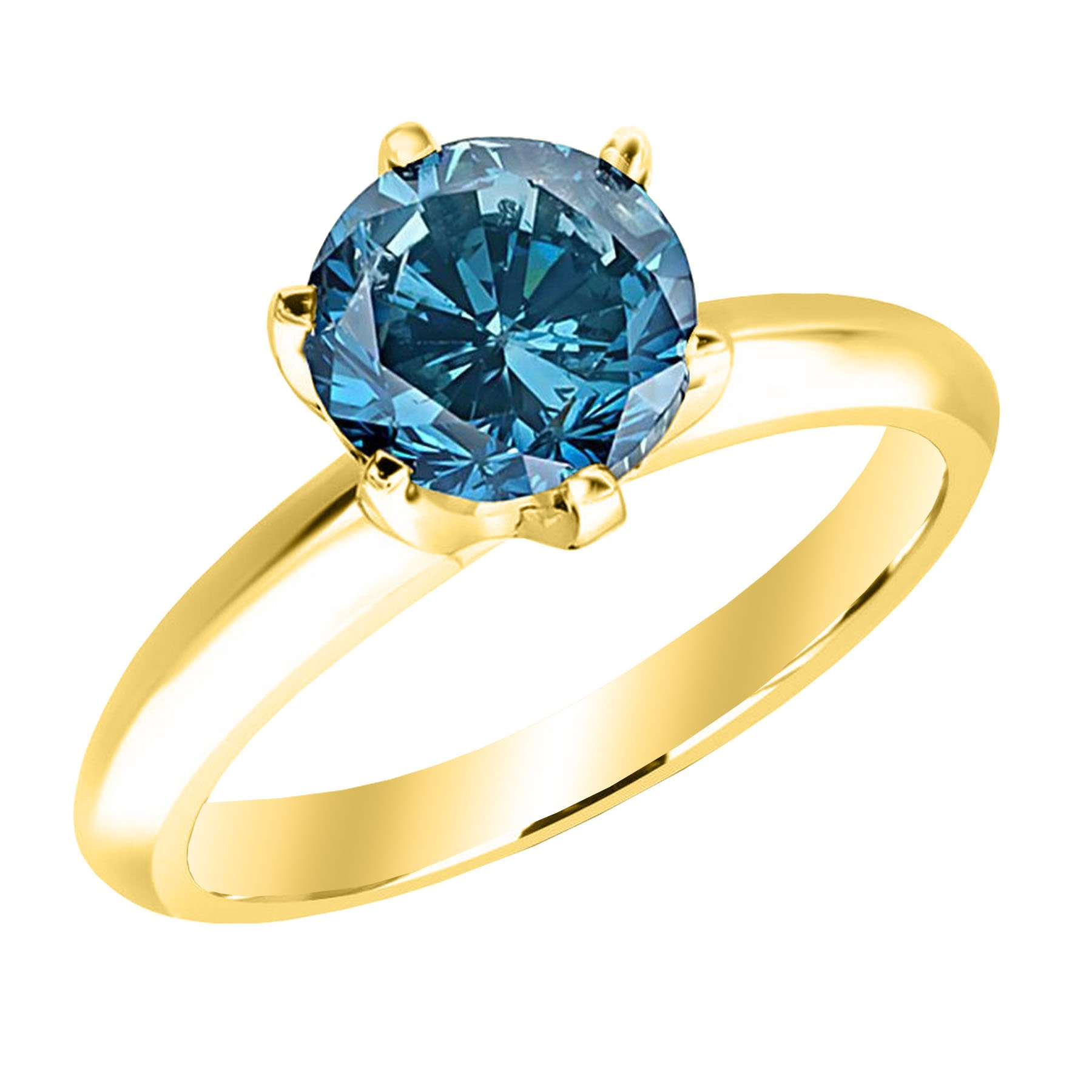 1 Carat 14K Yellow Gold Round Blue Diamond Solitaire Ring (AAA Quality)