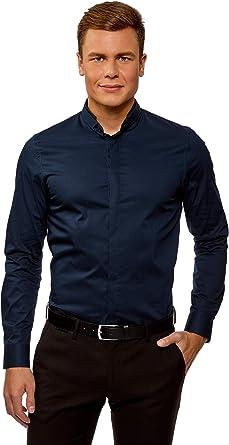 oodji Ultra Hombre Camisa Entallada con Cuello Mao, Azul, сm 44 / ES 56 / XL: Amazon.es: Ropa y accesorios