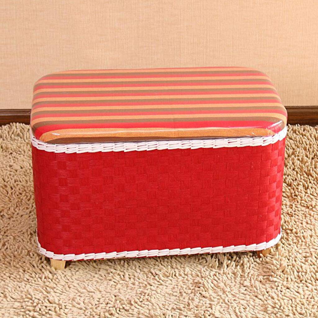 Red 603840cm Rattan Straw Weaving shoes shoes Stool Storage Stool Garden shoes Bench Seat Storage Stool Sofa Stool (color   orange, Size   52  28  32cm)
