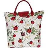 Red Ladybird and Daisy Pattern Tapestry Foldable Reusable Grocery Shopping Bag by Signare (FDAW-LDBD)
