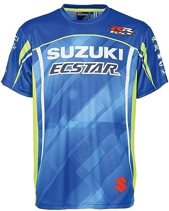 Suzuki MotoGP Team T-Shirt, Edelprint kurzarm ! Ecstar Racing ! blau weiß  neon