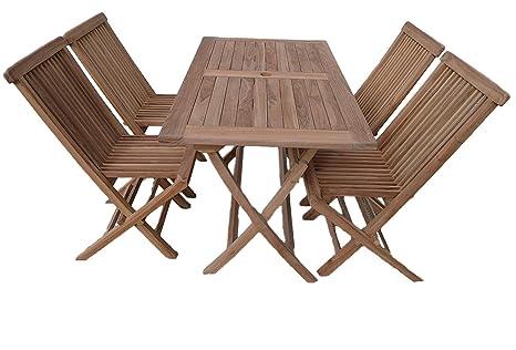 Warwick - Set de mesa rectangular y sillas de jardín para 4 ...