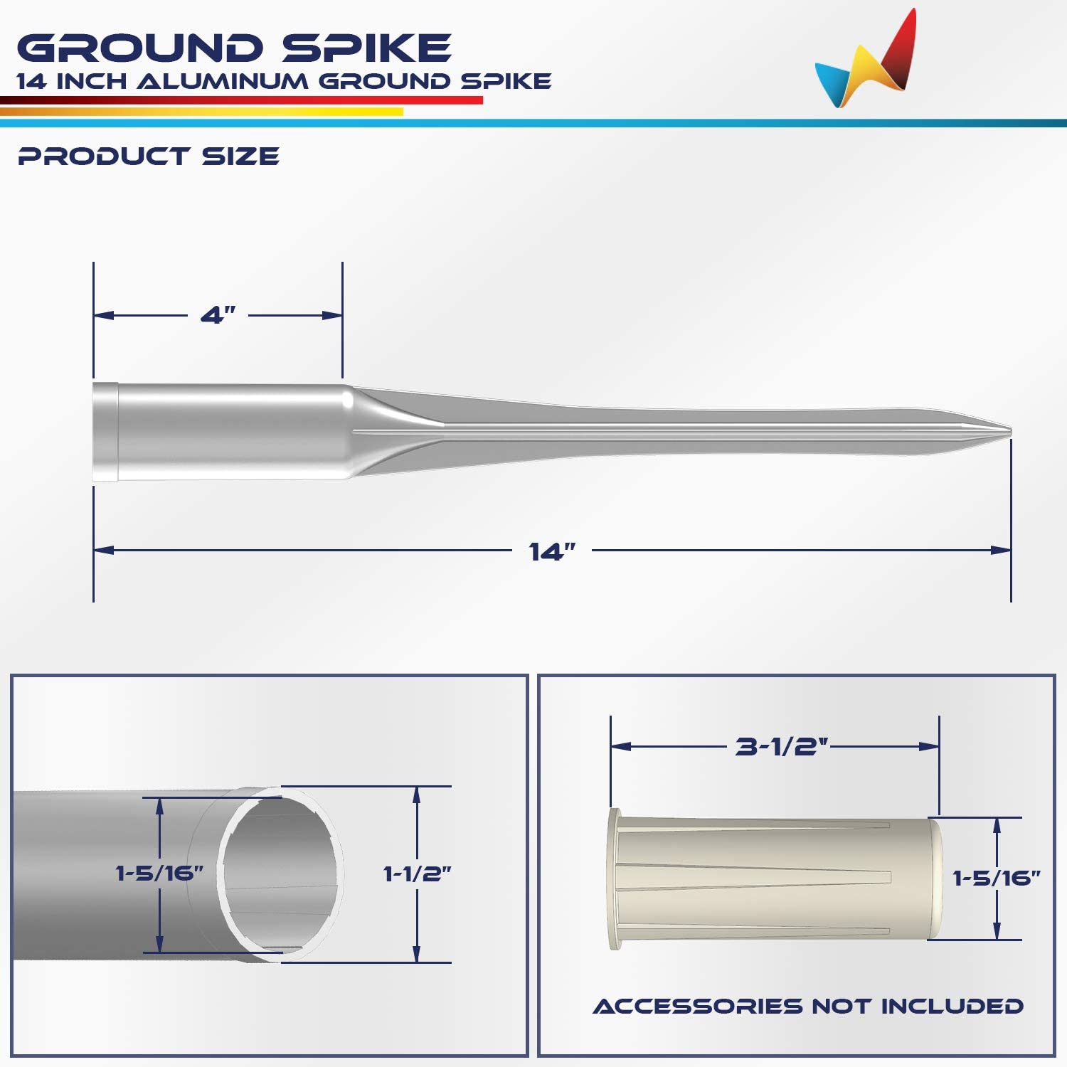 Windscreen4less Fence Post Anchor Ground Spikes 1-5//16 ID Round Pole Holder Socket Sleeve for Dirt Clay Grass Aluminum Pack of 5