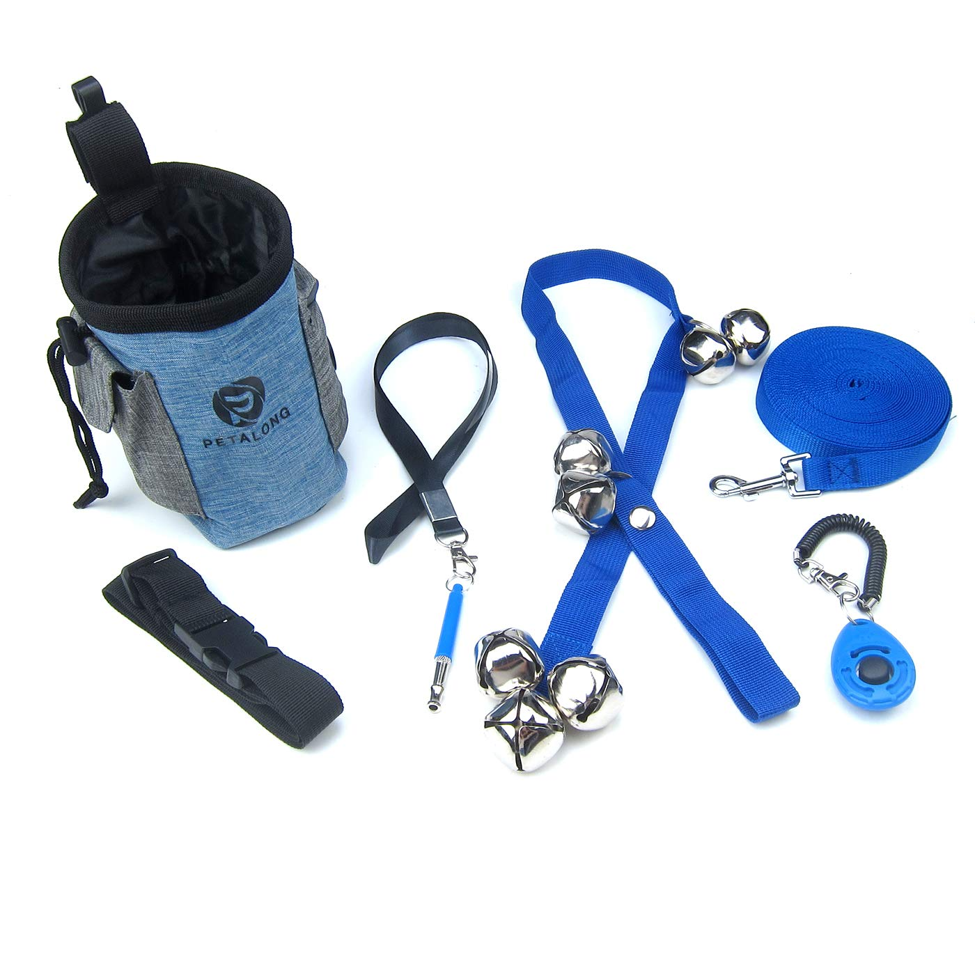 Alfie Pet - Rick 5 in 1 Puppy and Dog Training Essential Kit - Treat Pouch, Bark Control Whistle, House Training Doorbells, Clicker, and Training Leash by Alfie