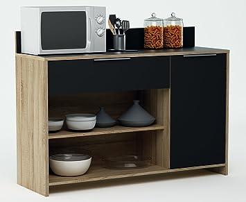 habeig Küchenschrank 223 Eiche-schwarz Schrank Küchenregal ...