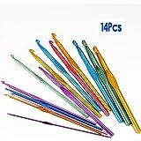SODIAL(R)14 Taglie Uncinetti aghi Set Multi colori alluminio 2 millimetri-10mm