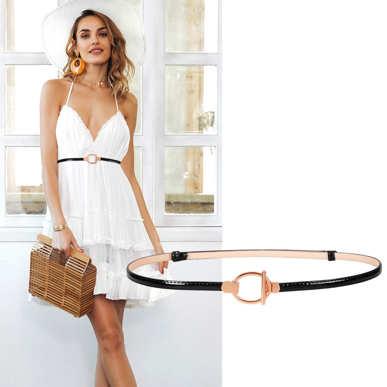 Fashion Skinny Belts for Women Patent Leather Thin Waist Belt for Dress Adjustable By SUOSDEY