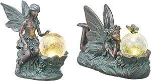 TERESA'S COLLECTIONS Large Solar Fairy Garden Statue and Sculpture Bundle (2PCS) | Bronze Fairy Garden Statue and Sculpture with Solar Powered Lights for Patio, Lawn, Yard Decorations