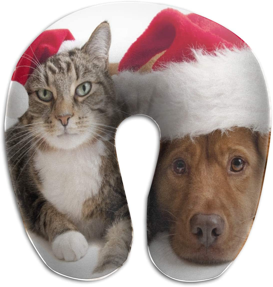 Amazon Com Yunshm Cat Dog Christmas Hat Wallpaper U Shaped Pillow