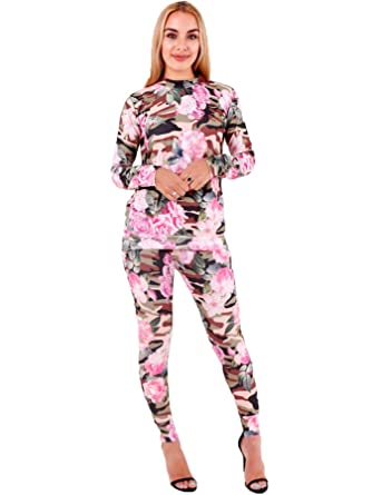 14b0e05d9ca982 Womens Floral Camouflage Tracksuit Ladies Jogger Loungwear Suit Summer Top  Bottom Trouser  Amazon.co.uk  Clothing