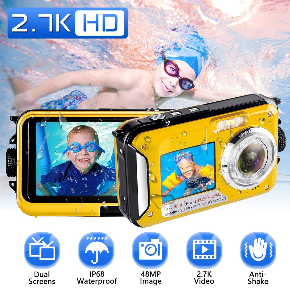 Waterproof Camera Underwater Camera Full HD 2.7K 48 MP Camera Selfie Dual Screens Point and Shoot Camera Selfie Dual Screen Waterproof Camera for Snorkeling (806DY) by Kansing