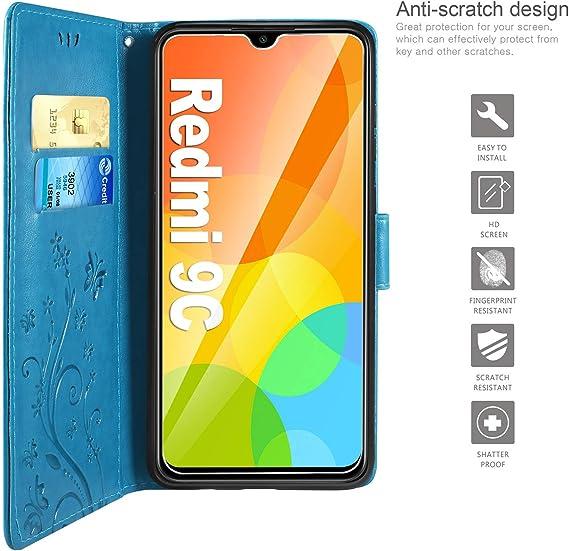 Coque pour Xiaomi Redmi 9C NFC Coque,Housse en Cuir Flip Case Portefeuille Etui avec Stand Support et Carte Slot pour Xiaomi Redmi 9C NFC EYSD022203 Bleu