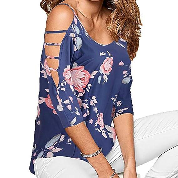 Lenfesh Mujeres Sueltas Camisetas con Hombros Descubiertos Manga 3/4 Floral Imprimir Moda Blusa para