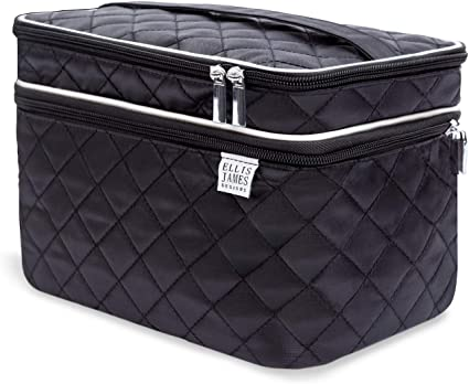 Ellis James Designs Large Make Up Bag, Vanity Top Make Up Case Professional Black Big Travel Cosmetic Bags and Cases Gifts for Women, Beauty Bag