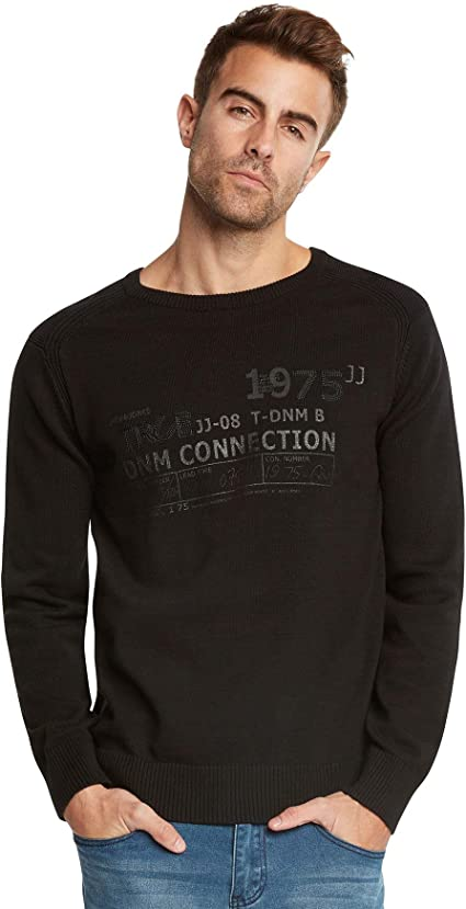 Grey Melange M para Hombre Jack /& Jones Jcojupiter Knit Crew Neck-STS Su/éter