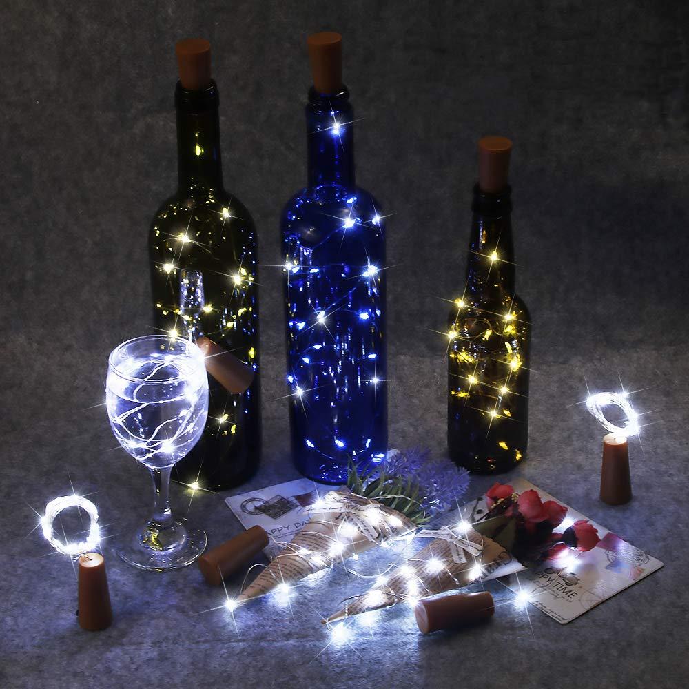 Luz de Botellas 12 Paquetes BIG HOUSE 2M 20 LEDs Alambre de Cobre Luces de Vino con Corcho de Bricolaje para Dormitorios, Bodas, Navidad, Decoración ...