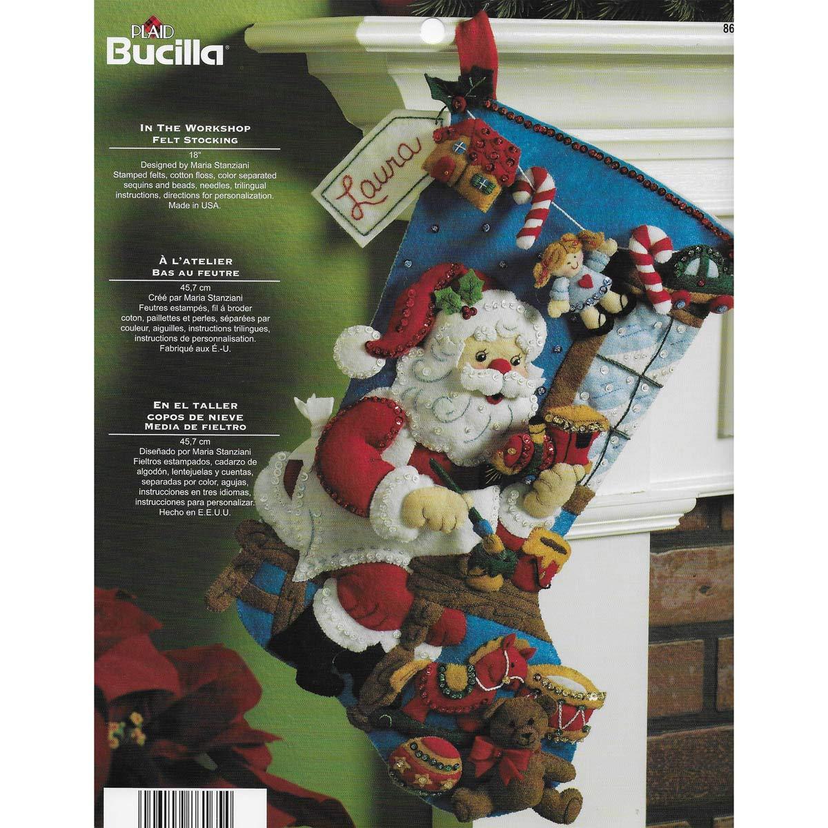Bucilla Christmas Stocking Kits.Bucilla In The Workshop Stocking Felt Applique Kit 18 Long