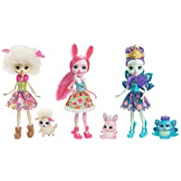 Enchantimals Coffret 3 Mini-poupées avec jupes en tissu, Patter Paon, Lorna Brebis, Bree Lapin et Figurines Animales, jouet enfant, FMG18