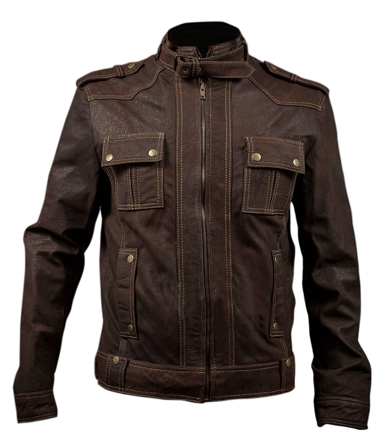Stone Wash Slim Fit Brown Leather Jacket Strap Collar