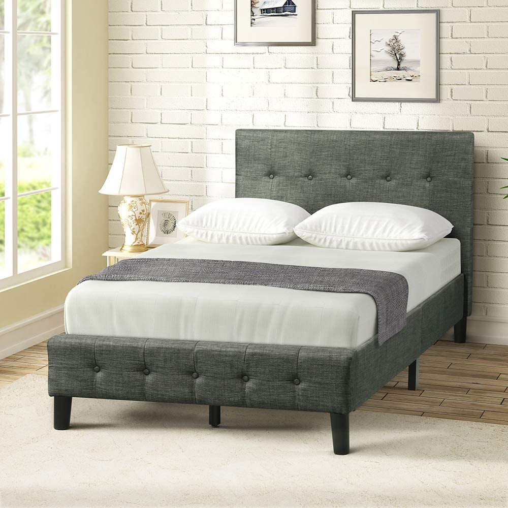 Harper Bright Designs Wood Twin Upholstered Bed Frame with Headboard and Footboard, Strong Wooden Slats, No Box Spring Needed