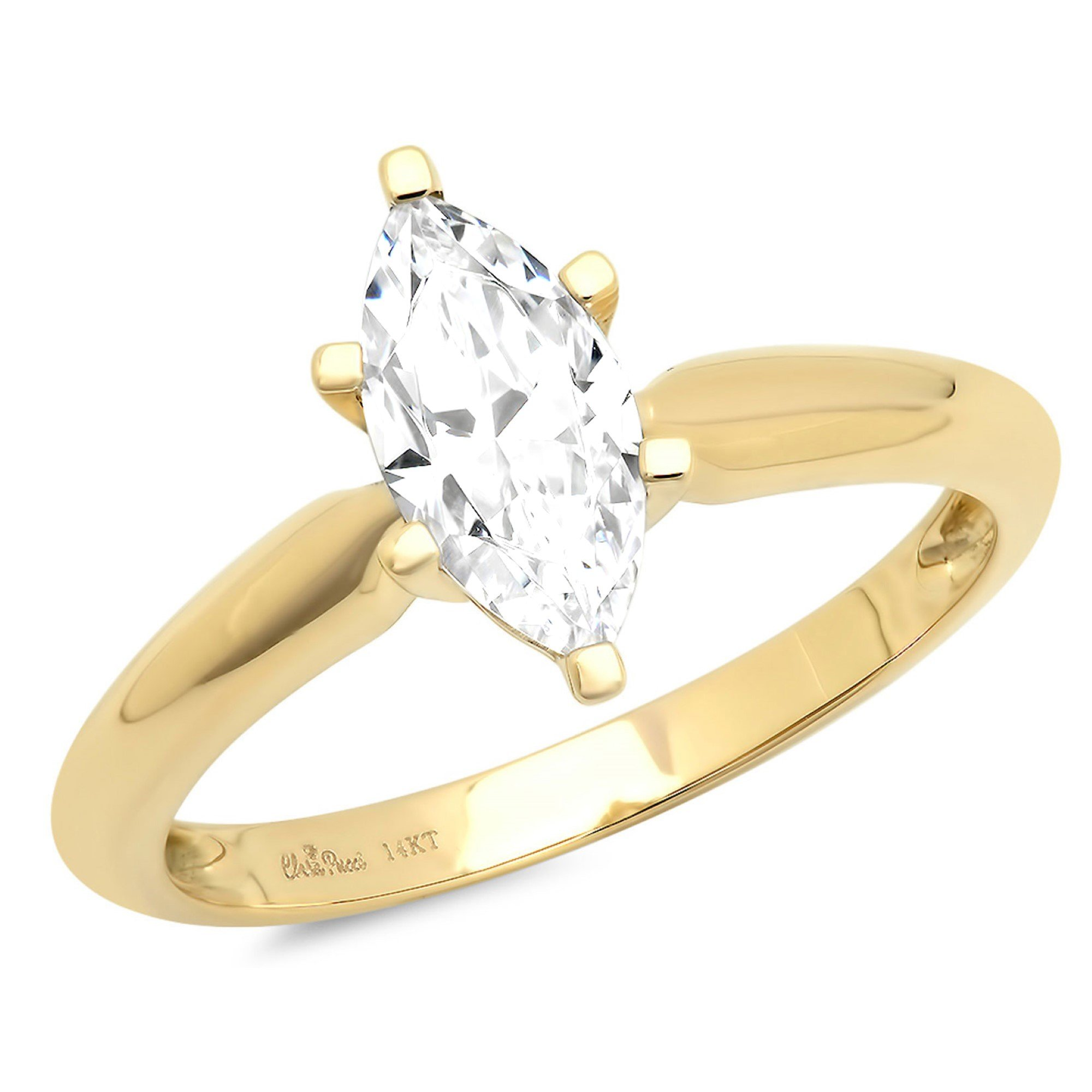 14k Yellow Gold 1.47cttw Marquise Solitaire Moissanite Engagement Promise Ideal VVS1 6-Prong Ring Statement Anniversary Bridal Wedding, Size 7.25