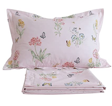 FADFAY Shabby Pink Floral Bed Sheet Set Twin XL Cotton Sheets Butterfly  Print 4 Piece