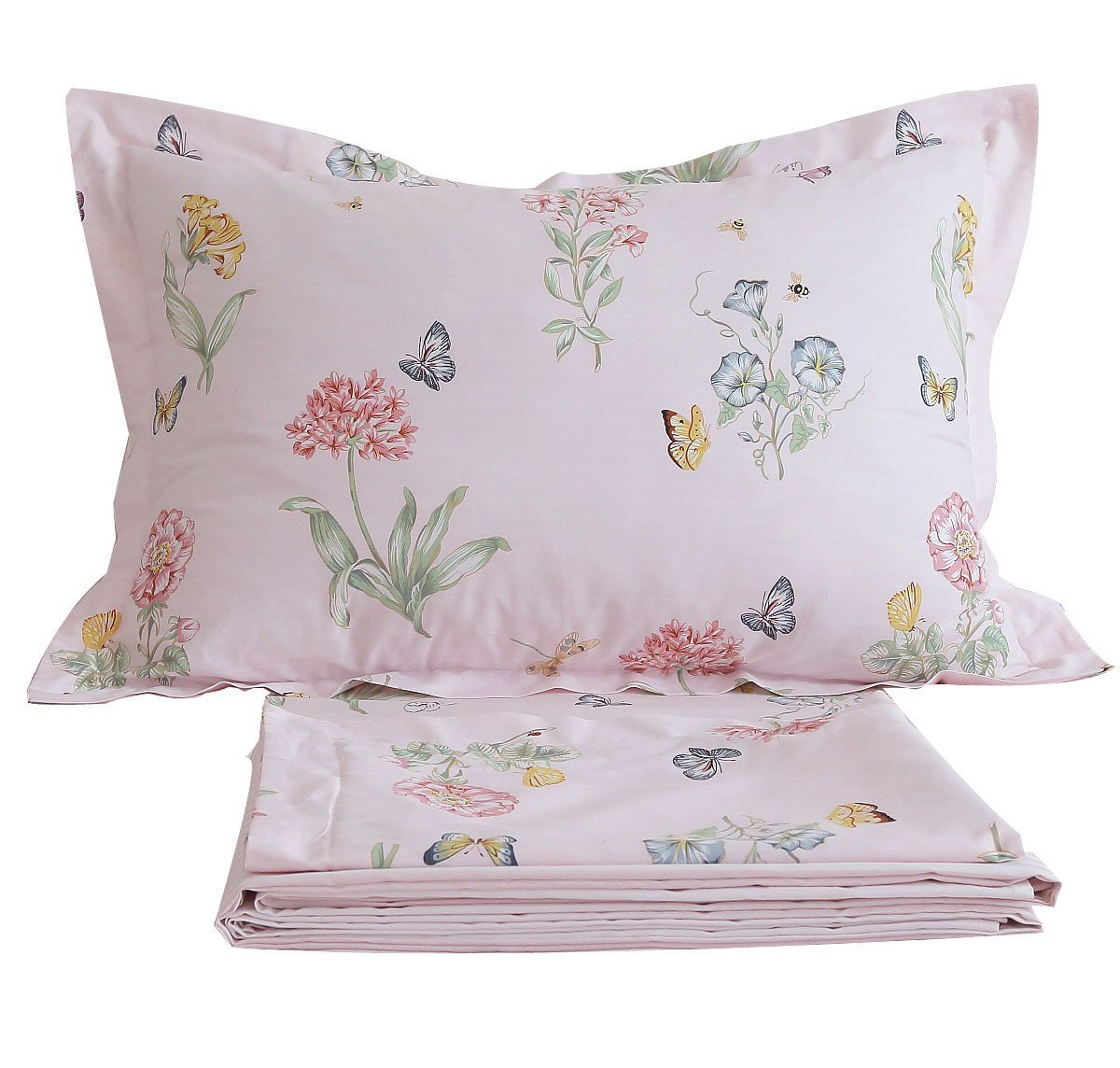 FADFAY Shabby Pink Floral Bed Sheet Set Twin XL Cotton Sheets Butterfly Print 4-Piece Twin Extra Long Size