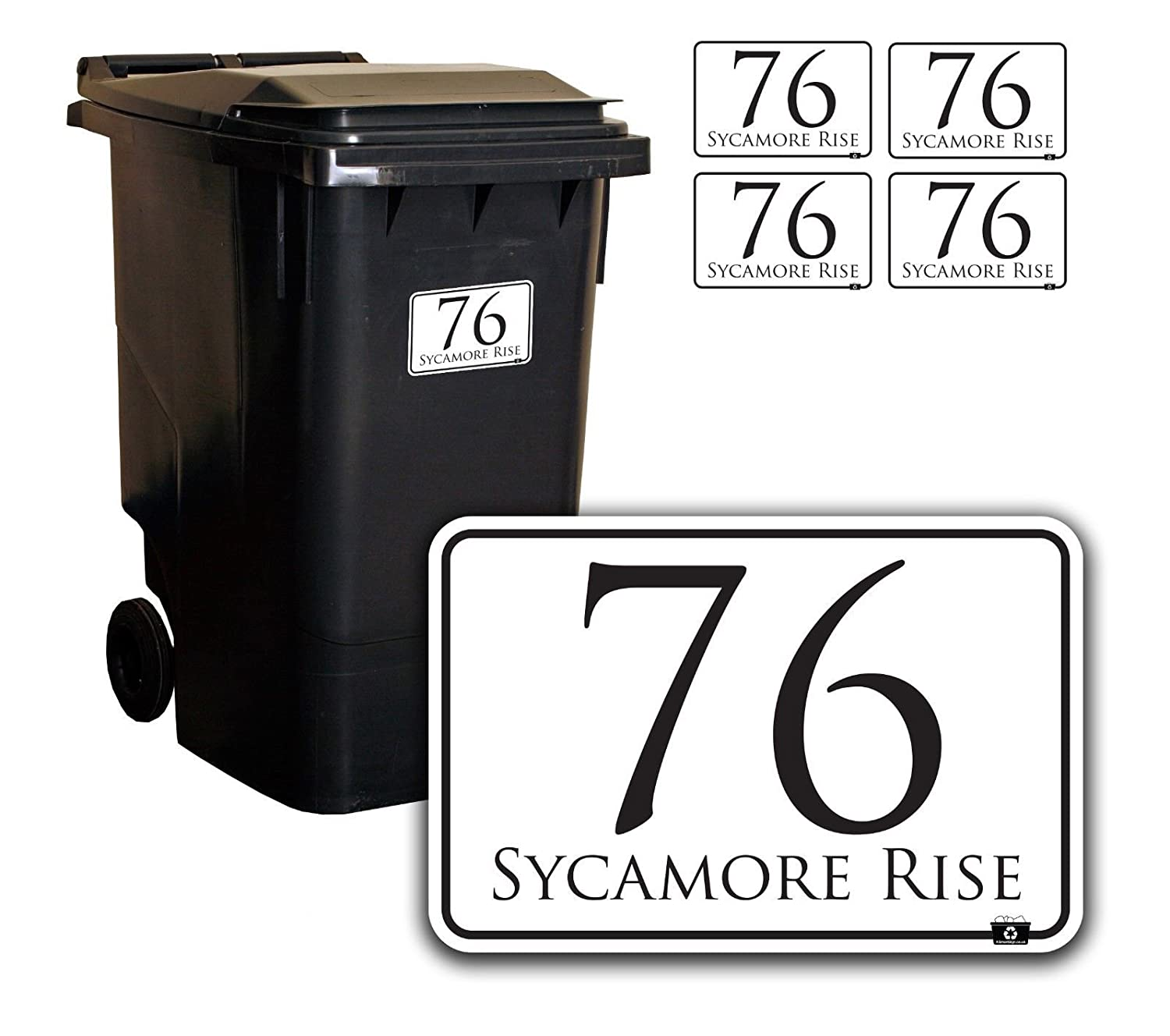 Personalised Printed Wheelie Bin Number Stickers with number and road Name - A6 Vinyl Waste Container Decals - set of 4 K Smart Sign Ltd