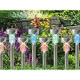 Babz Lampade da giardino ricaricabili, con luci a LED, a energia solare, in acciaio inox, cambiano colore, confezione da 10