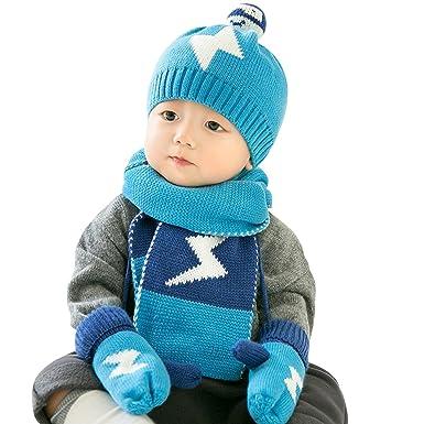 Ankoee Enfants d hiver Tricotés Ensemble Bonnet Tricoté Écharpe Gants pour  Enfants Bébé Fille Garçon 3 Pièces (Bleu)  Amazon.fr  Vêtements et  accessoires 15ad7b32287