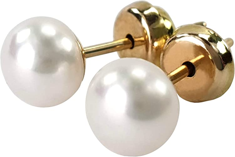 Ohrstecker 585 echt Gold Ø 7 mm Süßwasser Perlen weiß Ohrringe 14 Karat neu