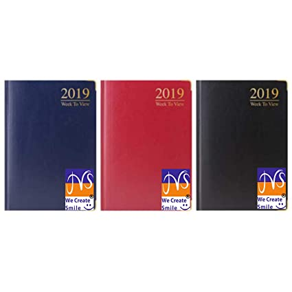 226a7c30b3d9 JMS® A5 WEEK TO VIEW Diary 2019 Padded Cover Metal Corner - Random Delivery  of Colour  Amazon.co.uk  Office Products