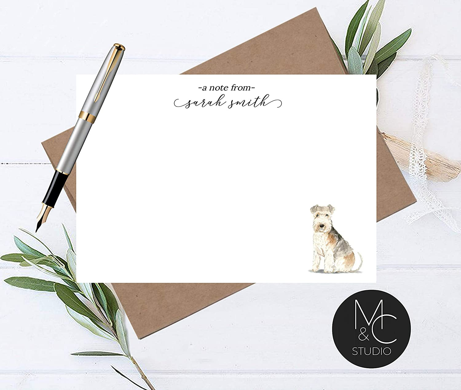Gift for Dog Lovers Scottish Terrier Personalized Note Cards Flat Note Cards, Rottie Dog Stationery
