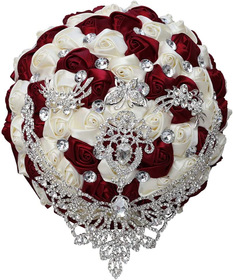 WIFELAI-A Bling Diamond Brooch Bride Wedding Bouquet New Jeweled Bouquet Tassel Crystal Brooches Bouquet (W287-21 Wine Red)