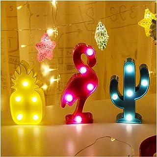 Florvine 3 Pack LED Neon Light Signs,LED Letter Nightlight,Shine Lovely Pink Flamingo Pineapple Green Cactus Lamp Night Light for Kids,Light up Bedroom,Party,Wedding,Christmas,Battery Operated