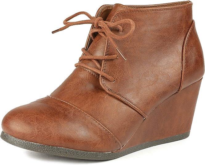 DREAM PAIRS Womens Wedge Heels Ankle Boots Round Toe  Side Zip Platform Sneakers