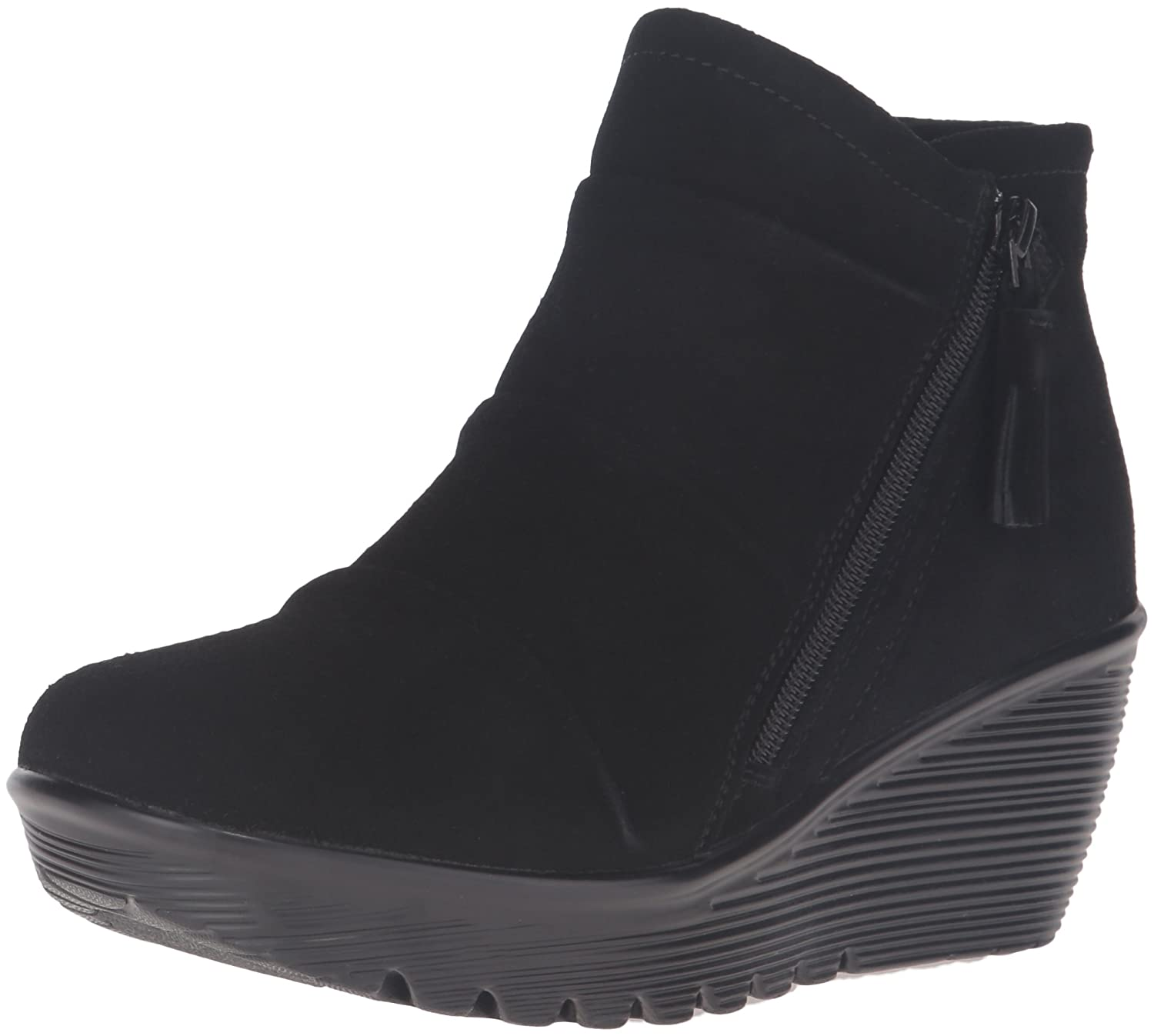 Skechers Womens Parallel-Triple Threat Ankle Bootie  7.5 B(M) US|Black Suede