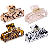 MagicSky 4PCS Hair Claw Clips, Acrylic Hair Banana Barrettes, Celluloid French Butterfly Jaw Clips,Tortoise Shell Grip Pin Te