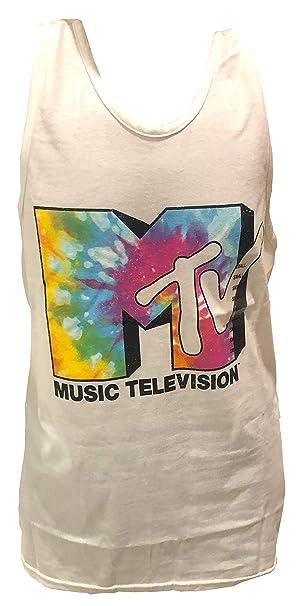 a9b277b4a8e69e MTV Tie Dye Logo Music Television Retro Vintage 80s Tank Top Shirt Mens  White (Small