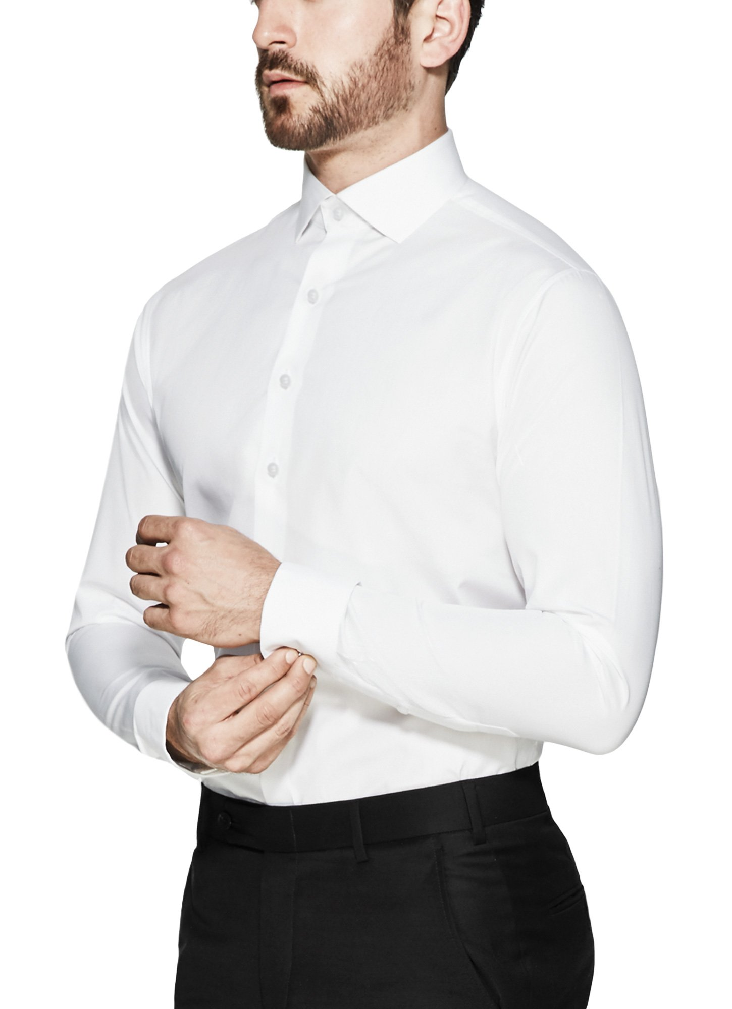Vardama Men's White Tech Shirt With Stain & Sweat Proof Technology Vesey Tailored Fit (Large)