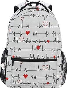 Backpacks Calling Nurses EKG Stripe White College School Book Bag Travel Hiking Camping Daypack