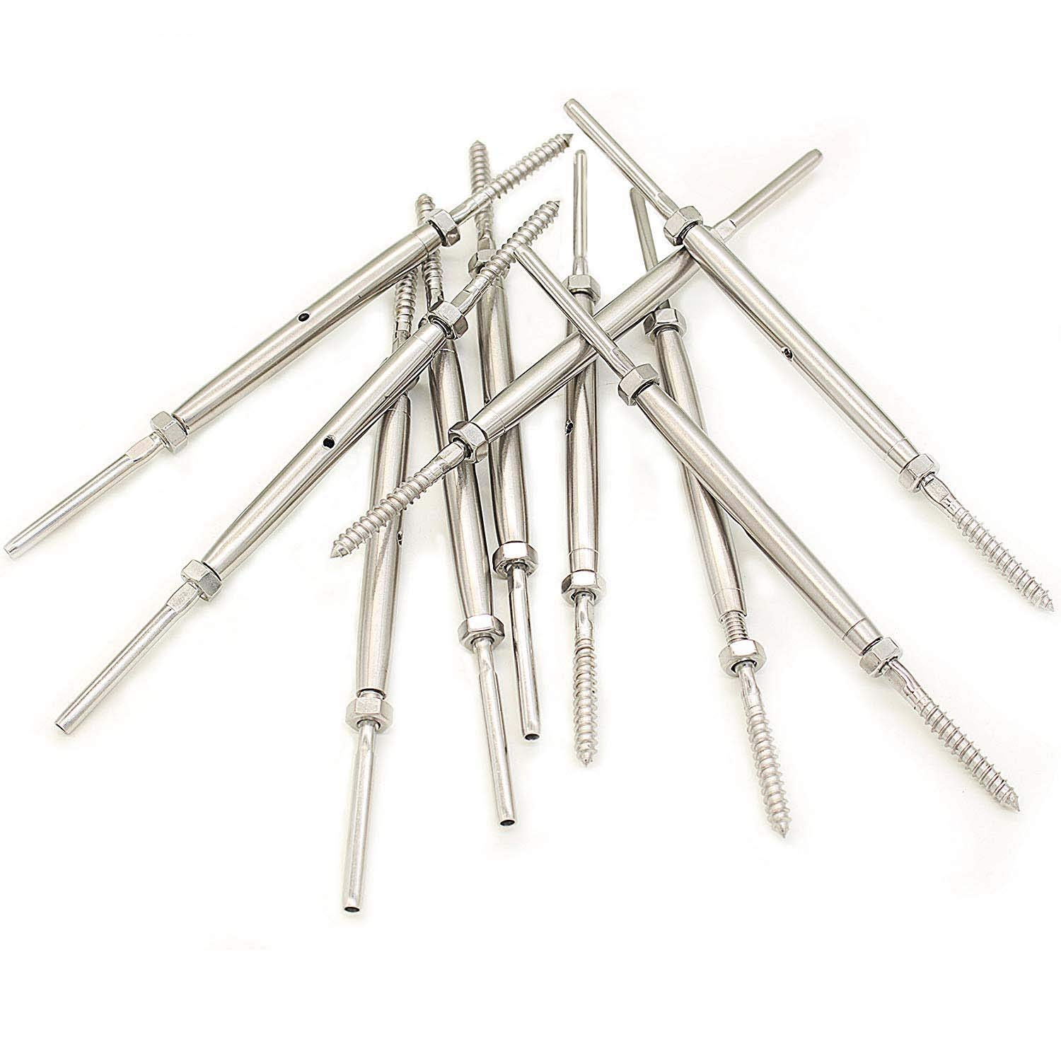 Lot of 10 ShipeeKin Hand Swage Turnbuckle Tensioner with Lag Screw for 1//8 Cable Railing Stainless Steel T316 Marine Grade
