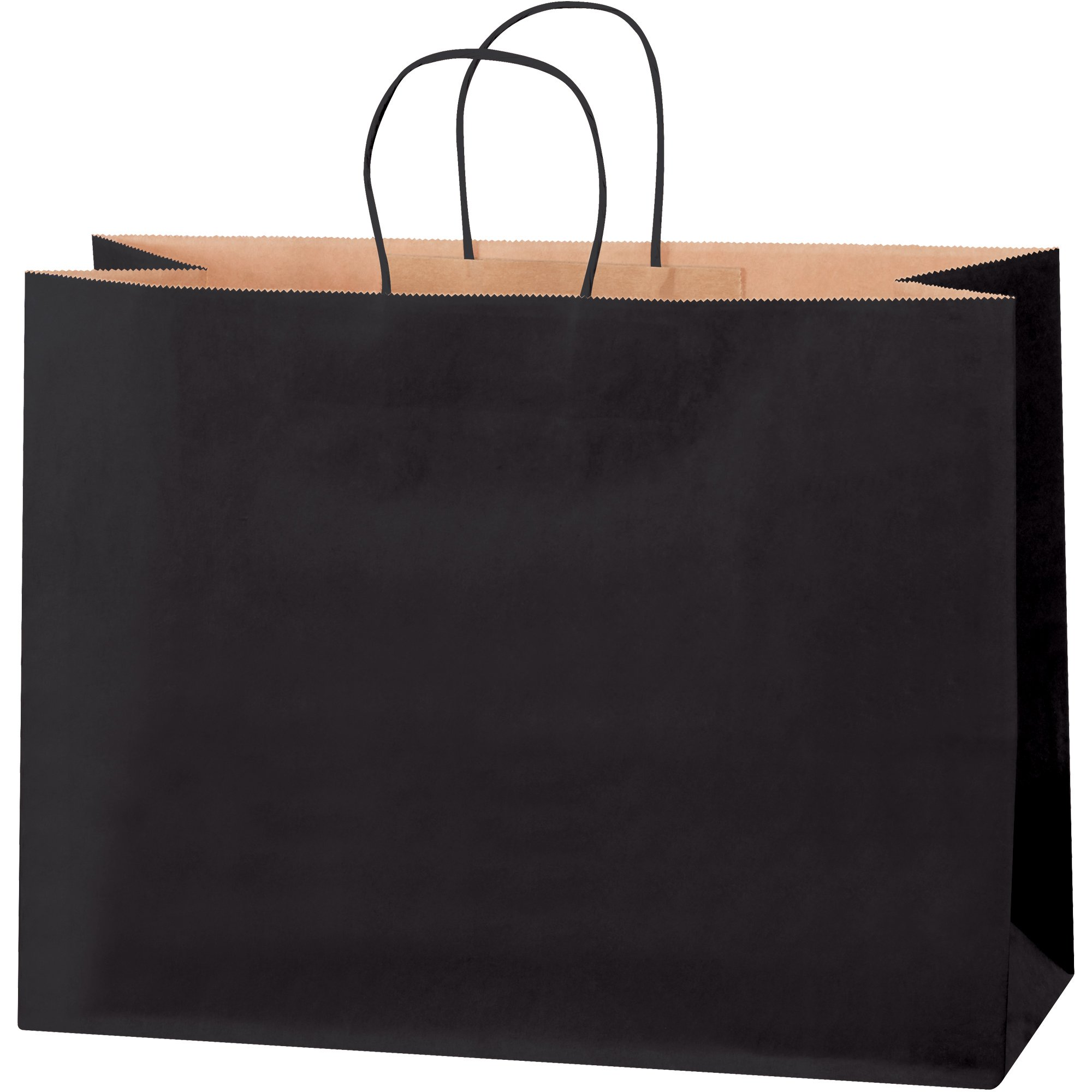 Tinted Shopping Bags, 16'' x 6'' x 12'', Black, 250/Case