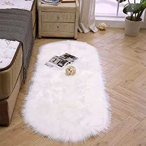 LEEVAN Super Soft Round Rug Faux Fur Wool Oval Carpet Fluffy Shaggy Kids Play Mat Girls Runner Area Rug for Sofa Floor or Living Room Bedroom Accent Home Decorate(White,2ft x 4ft)