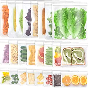 Reusable Food Storage Bags - 24 Pack BPA FREE Flat Freezer Bags(8 Reusable Gallon Bags+8 Leakproof Reusable Sandwich Bags+8 Food Grade Kids Snack Bags) Resealable Bag for Meat Fruit Veggies