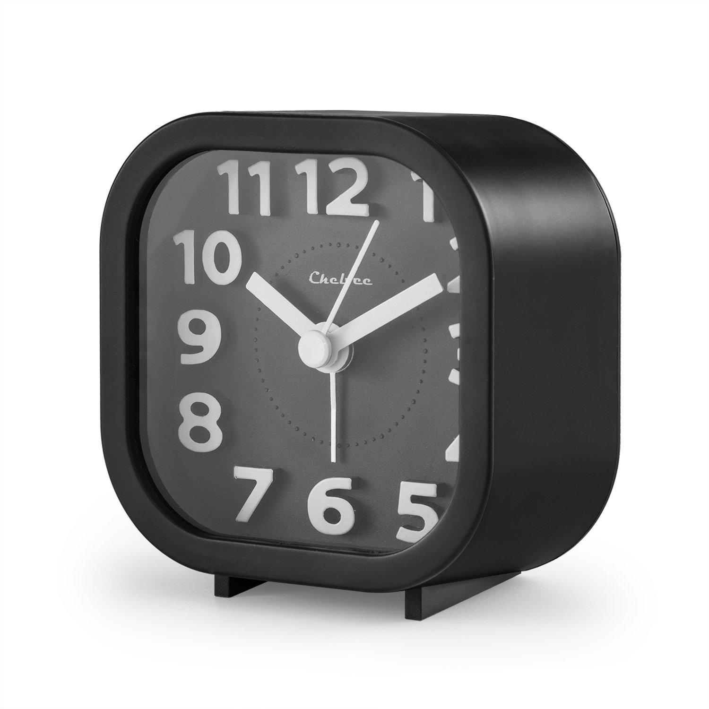 "Alarm Clock, Chelvee 2"" Quartz Analog Travel Alarm Clock with Night Light, Ultra Small, Silent with No Ticking (Black) LT8101"