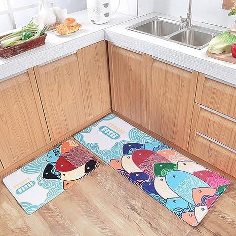 KEPSWET 2-piece Cartoon Fish Pattern Rugs Bedroom Rug Runner Living Room Carpets Bedside Rugs Sofa Coffee Table Carpets Non-Slip Carpets Door Mats ...