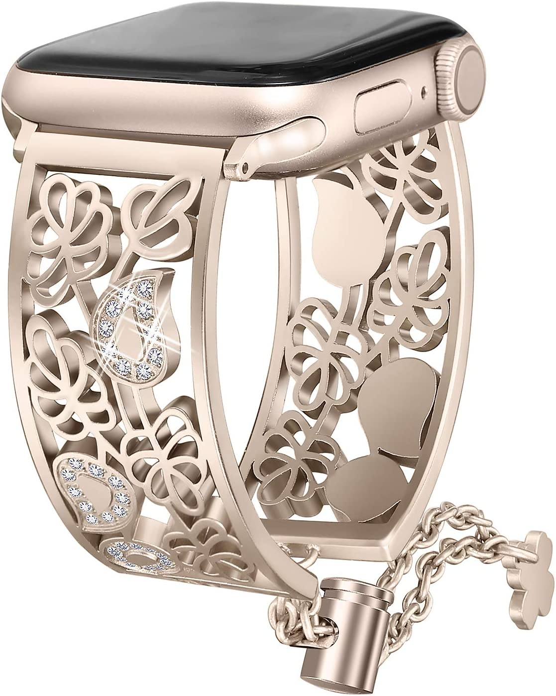 Secbolt Hollowed-out Bling Bands Compatible Apple Watch Band 38mm 40mm iWatch Series 6 5 4 3 2 1 SE Diamond Rhinestone Stainless Steel Jewelry Dressy Bangle, Champagne Gold