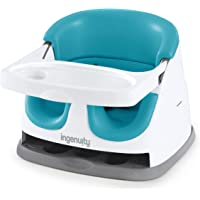 Ingenuity Baby Base 2-in-1 Booster Feeding and Floor Seat with Self-Storing Tray - Peacock Blue